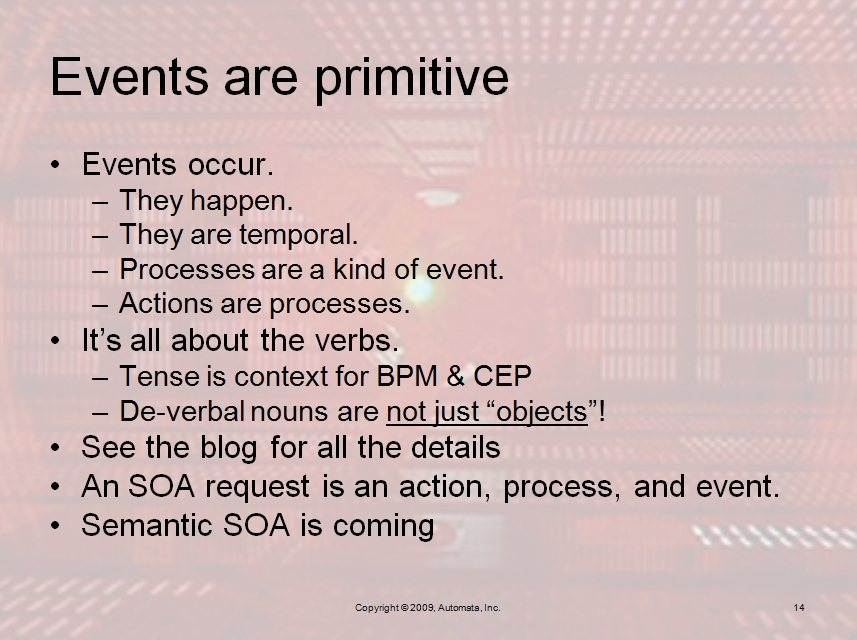 Fair Isaac: processes are not events