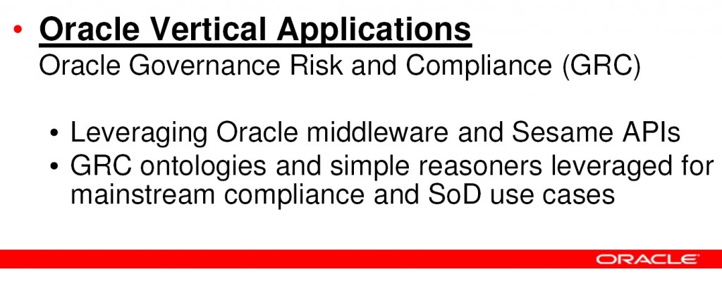 Semantic technology used for segregation of duties (SoD) in Oracle Governance, Risk, and Compliance (GRC)