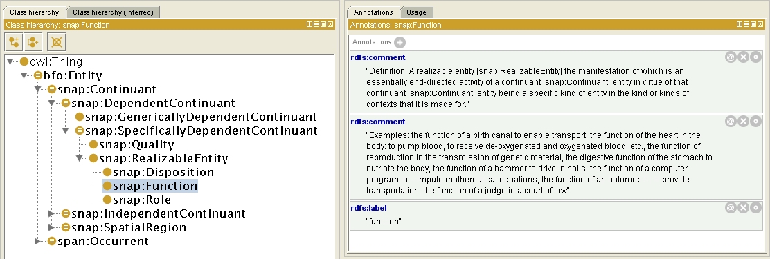 Function according to the Basic Formal Ontology
